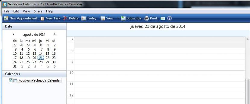 01 Calendario en Windows 7