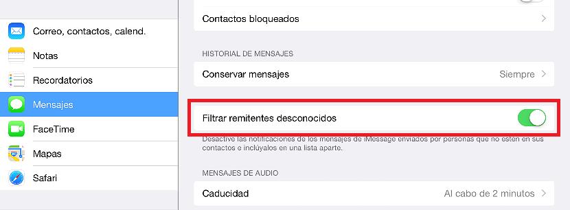 01 Remitentes desconocidos en iOS 8.3