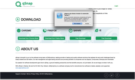 ADVERTENCIA DE INSTALACIÓN DE QSNAP