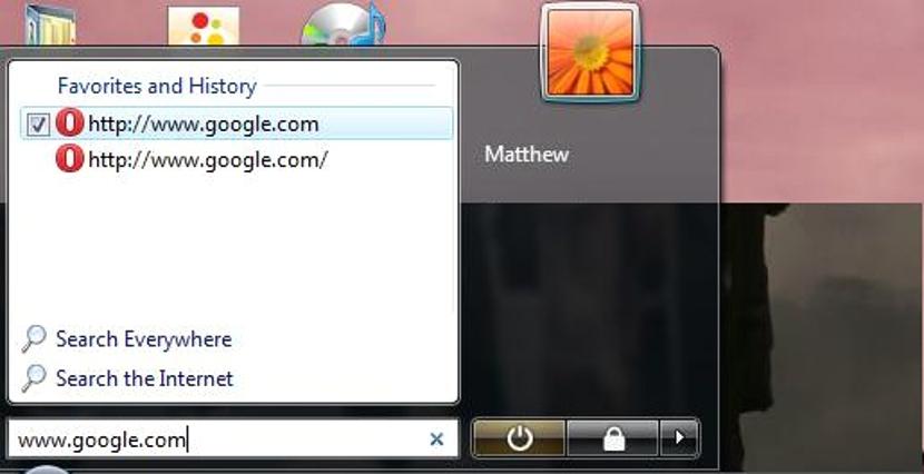 Sitio web desde el menu de inicio en Windows