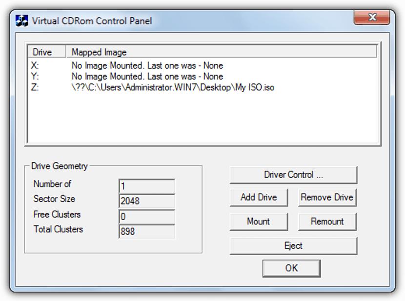 Virtual CDRom Control Panel