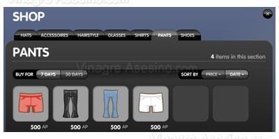 Comprar accesorios para tu avatar de alaplaya