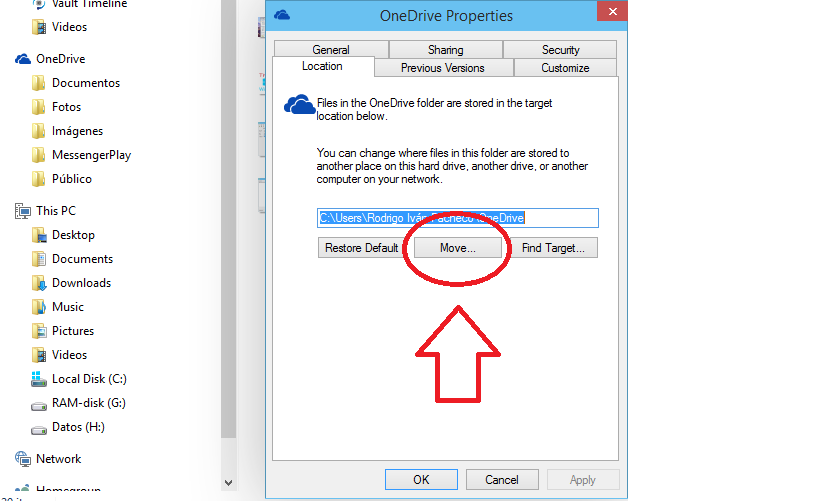 cambiar ubicación de OneDrive