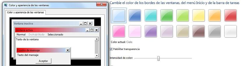 color de las ventanas en Windows 7