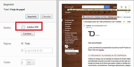 convertir a PDF con impresión en Chrome