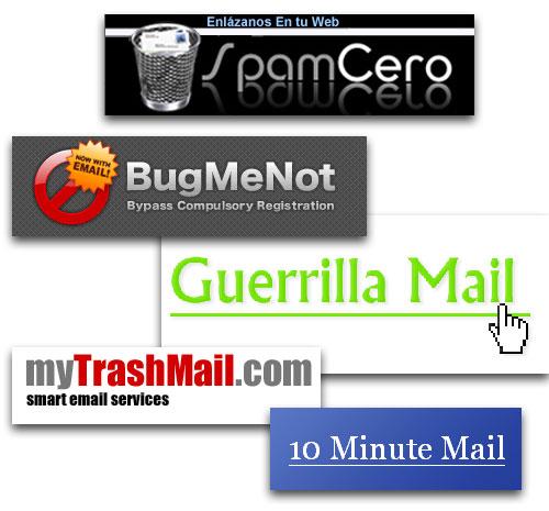 Servicios de correo temporales
