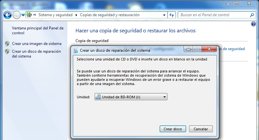 disco de recuperacion de Windows 7