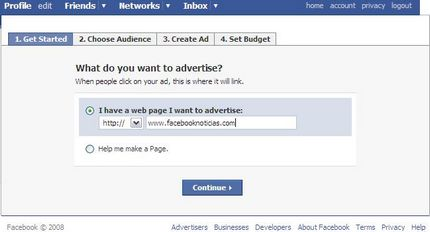 facebook-ads-definir-pagina-a-publicitar