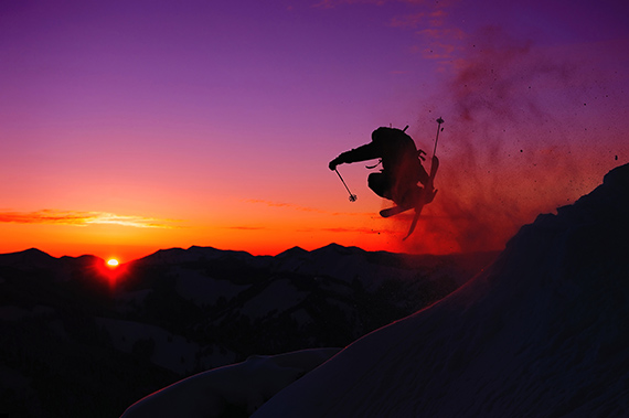 Athlete Trevor Hiatt airs it out on Teton Pass in Jackson Hole, WY.
