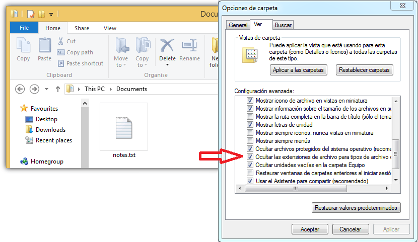 ocultar archivos con doble extension